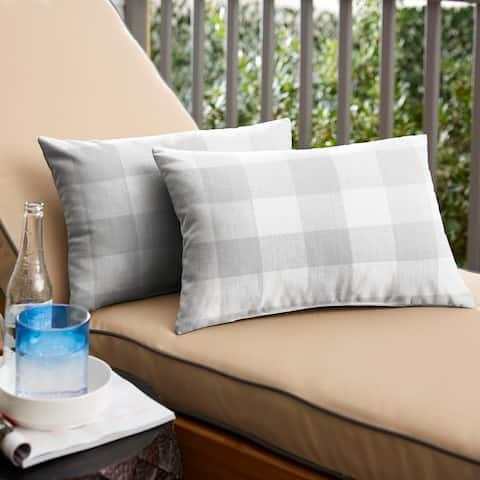Humble + Haute Grey Buffalo Plaid Indoor/ Outdoor Lumbar Pillow, Set of 2