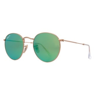 RAY-BAN Round RB 3447 Unisex 112/P9 Gold Green Sunglasses - 50mm-21mm-145mm