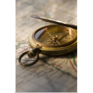 """""""Compass on antique map"""" Poster Print"""