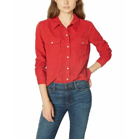 Sanctuary Fire Red Womens Size Small S Corduroy Button Down Shirt