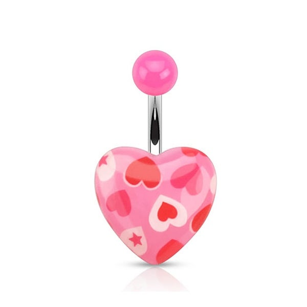 Romantic Heart Print on Pink Acrylic Heart 316L Surgical Steel Navel Belly Button Ring