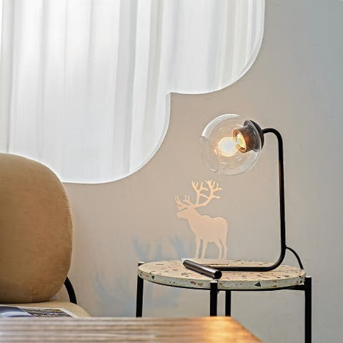 """Livia 15"""" Matte Black Desk Lamp with Clear Glass Shade"""