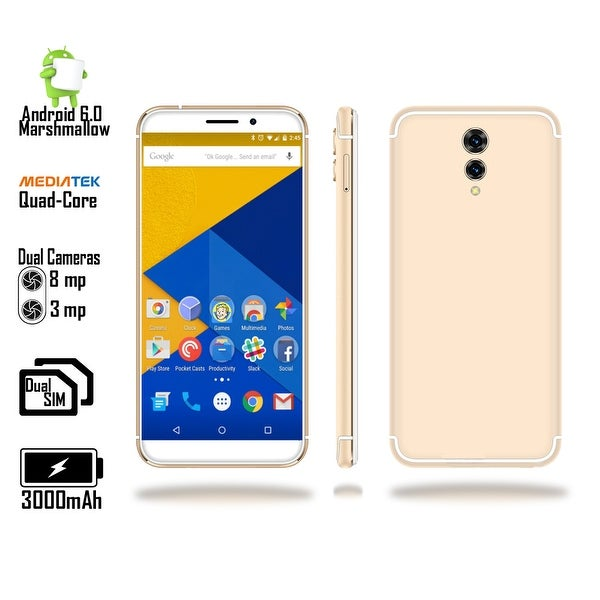 "Indigi 2018 GSM Unlocked 4G LTE 5.6"" SmartPhone [ Android 6 + Quad-CORE @ 1.2GHz + DUALSIM + Fingerprint Scan) (Gold)"