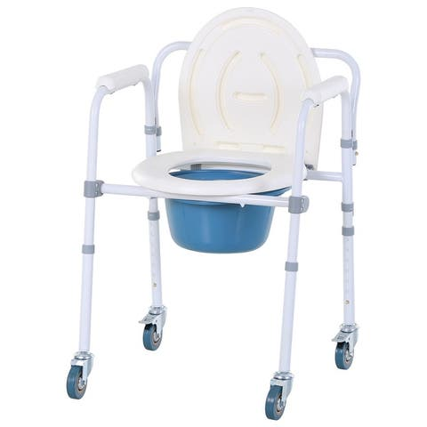 HomCom Personal Mobility Assist Bedside Commode Toilet Chair with 6-Level Adjustable Height & Shower Accessibility