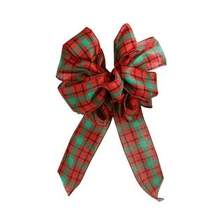 """8.5"""" x 14"""" Red and Green Plaid Mesh Indoor Christmas Bow - multi"""