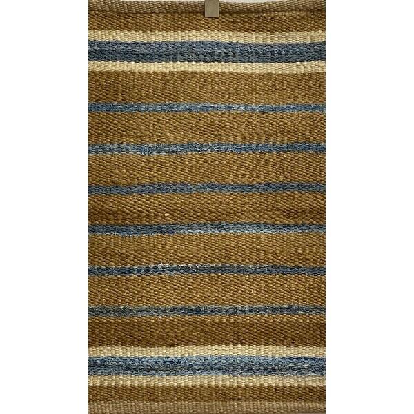 LR Home Coastal Striped Jute Accent Rug