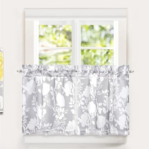 DriftAway Tier Curtains for Kitchen Windows Floral Delight Botanic Pattern Set of 2 Rod Pocket Window Treatment - 30''Wx24''L