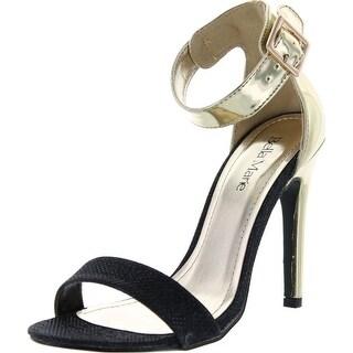 Bella Marie Womens Helena-6 Glitter Ankle Strap Sandal Open Toe Stiletto Heels