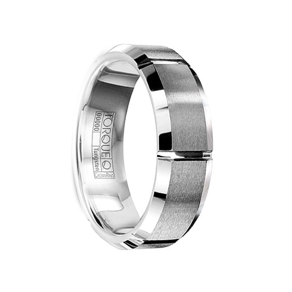 944da979437253 Shop FABRICIUS Tungsten Carbide Wedding Band with Brushed Center &  Horizontal Grooves by Crown Ring - 7mm - On Sale - Free Shipping Today -  Overstock - ...