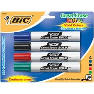 Blue/Black/Red/Green - Bic Great Erase Bold Dry Erase Markers Chisel Tip 4/Pkg