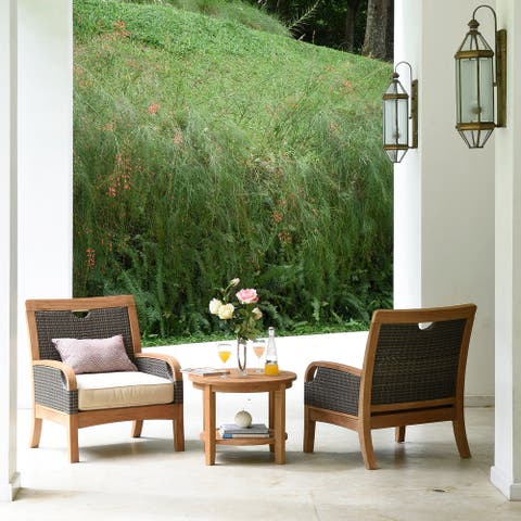 Cambridge Casual Palma 3-piece Teak Wicker Outdoor Chat Set with Cushion