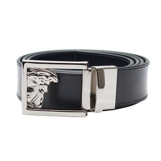 Versace Collection Men's Adjustable Stainless Steel Medusa Buckle Leather Reversible Belt Black/Navy - XL