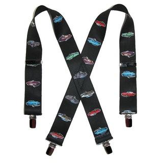 CTM® Kids' Elastic Clip-End 1 1/2 Inch Vintage Car Suspenders - Black - One Size