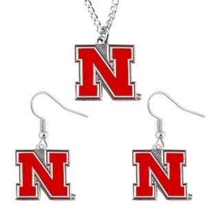 Nebraska Cornhuskers Necklace and Dangle Earring Charm Set NCAA