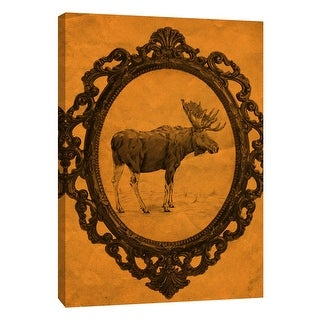"""PTM Images 9-108949  PTM Canvas Collection 10"""" x 8"""" - """"Framed Moose in Tangerine"""" Giclee Moose Art Print on Canvas"""