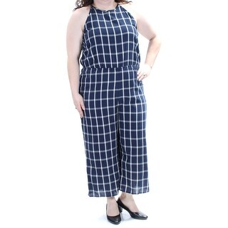 MAISON JULES $79 Womens New 1378 Navy Ivory Check Straight leg Jumpsuit XXL B+B