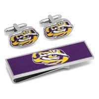 LSU Tiger's Eye Cufflinks and Money Clip Gift Set - Purple