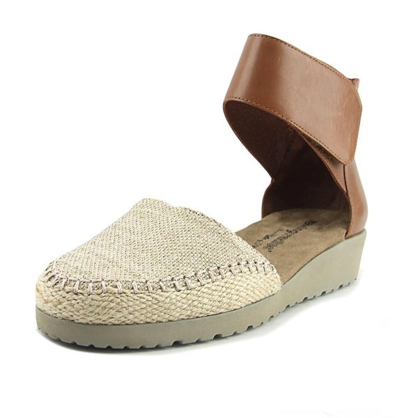 Walking Cradles Fresco Women N/S Open Toe Canvas Brown Wedge Sandal