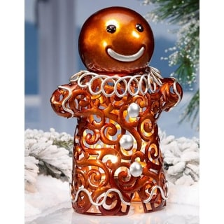 """11"""" Lighted Hand Crafted Gingerbread Man Christmas Luminary Table Top Figure"""