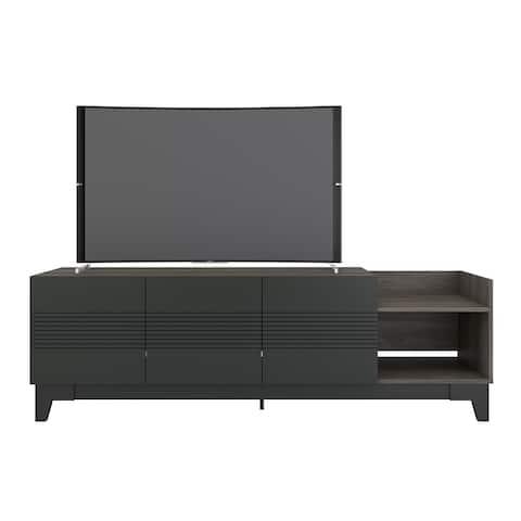 Nexera Influence 72-inch TV Stand, Bark Grey and Charcoal Grey