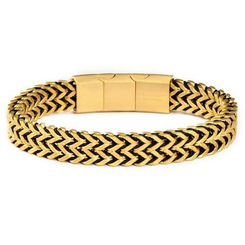 "Matte Steel Double Franco Chain Row Bracelet (10mm) - 8"" + 0.5"" Ext."