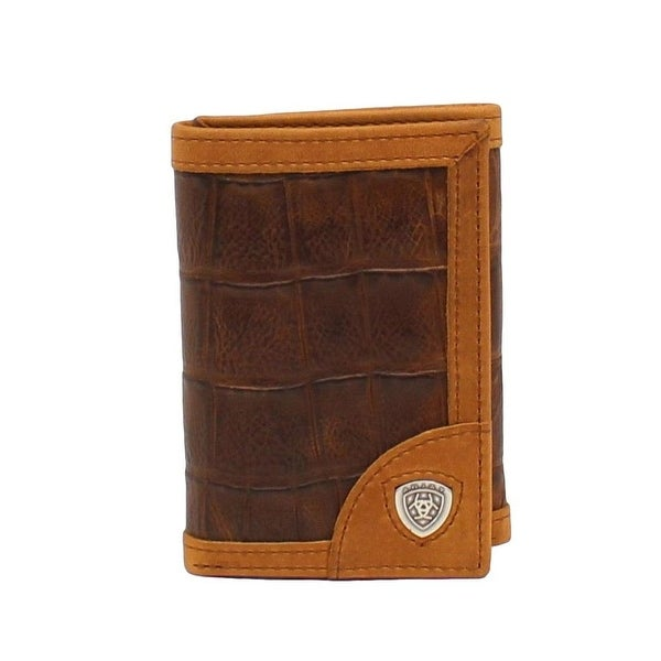 Ariat Western Wallet Mens Trifold Croco Overlay Logo Brown - One size