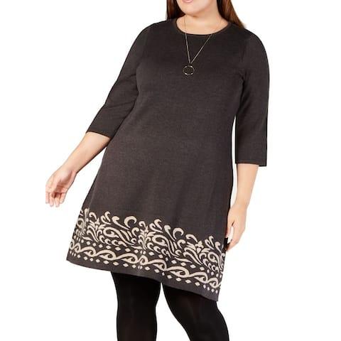 Jessica Howard Women's Dress Gray Size 2X Plus Sweater Paisley-Print