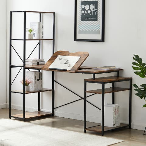 TiramisuBest Home office Desk Drafting Table/Tiltable Desktop&shelf