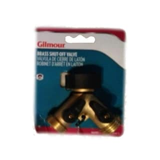 Gilmour 13 Hose Brass Y Connector With Dual Shut-Off