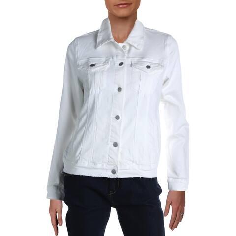 Aqua Womens Denim Jacket Distressed Lightew - White