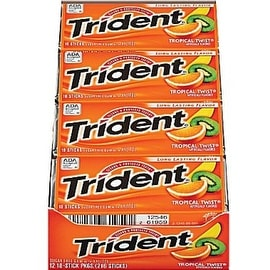 Trident Sugar Free Gum Tropical Twist 12 pack (18 ct per pack)