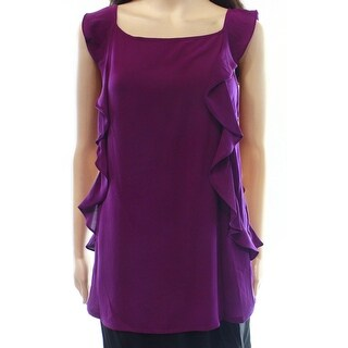 INC NEW Purple Paradise Women's Size XL Ruffle Cascade Contrast Blouse