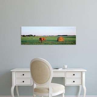 Easy Art Prints Panoramic Images's 'Horses And Hay, Marion County, Illinois, USA' Premium Canvas Art