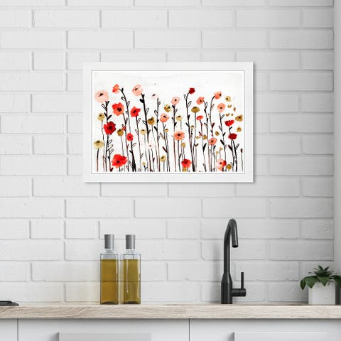 Wynwood Studio 'Beautiful Growth Poppy Red' Floral and Botanical White Wall Art Framed Print
