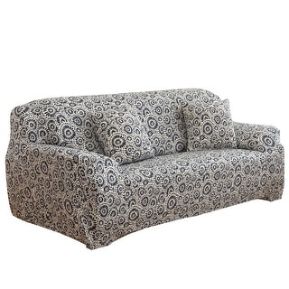 Home Polyester Ring Pattern 3 Seats Sofa Cover Slipcover Protector 74''-90''