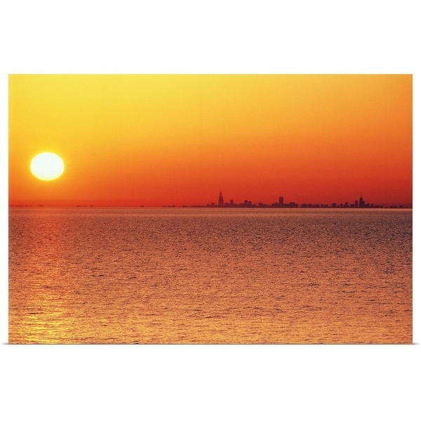 """Lake Michigan under an orange sunset, Chicago side"" Poster Print"