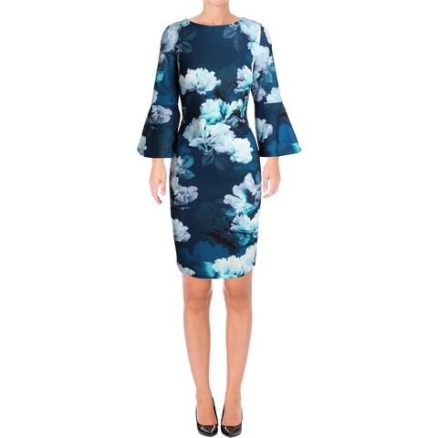 Calvin Klein Womens Wear to Work Dress Floral Bell Sleeve