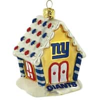 New York Giants NFL Blown Glass Gingerbread House Ornament
