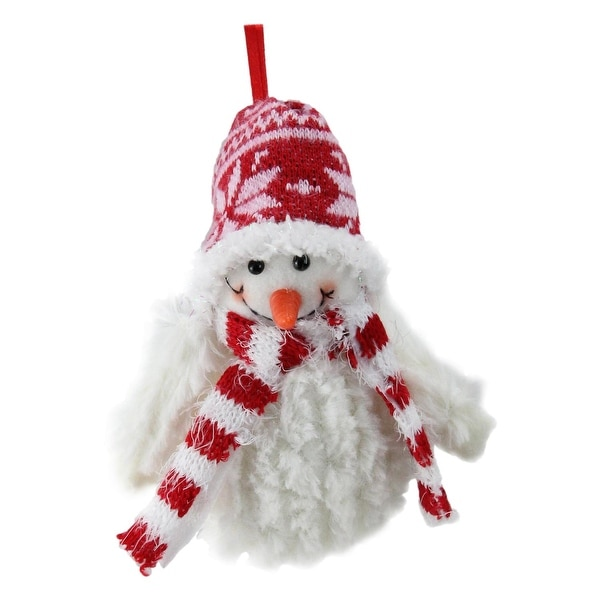 """5"""" Smiling Fuzzy Snowman with Red Nordic Hat and Scarf Christmas Figure Ornament - WHITE"""