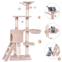 Gymax 56'' Cat Tree Kitten Pet Play House Furniture Condo Scratching Posts Ladder Beige