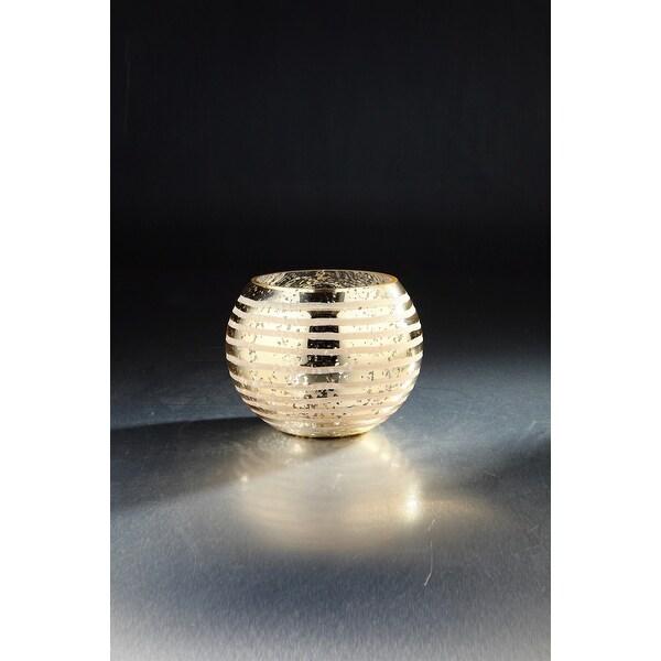 "8"" Golden Color Striped Handblown Glass Round Vase - N/A"
