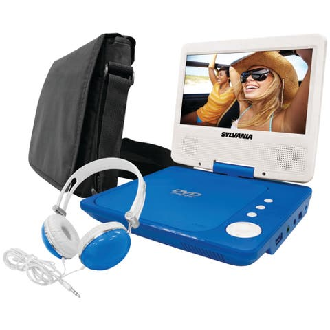 Sylvania(r) sdvd7060-a-combo-blue 7 swivel-screen portable dvd player bundle (blue)