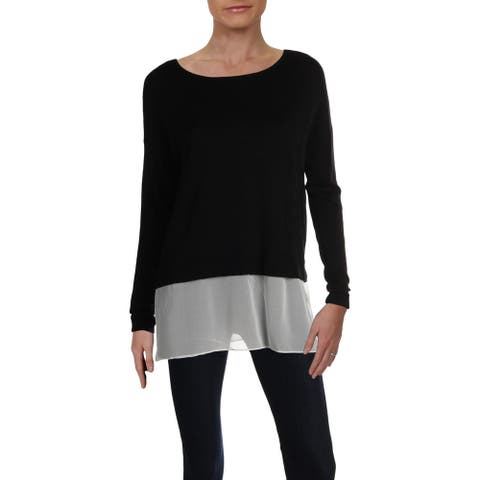 Philosophy Womens Pullover Sweater Mixed Media Layered - Black/White - M