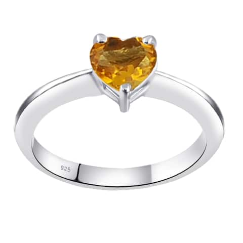 Citrine, Topaz Sterling Silver Heart Solitaire Ring by Orchid Jewelry