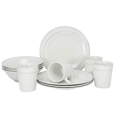 Gibson Platinum Edge Fine Ceramic 12 Piece Dinnerware Set