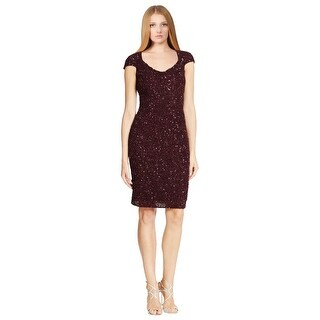 Theia Shimmering Crunchy Sequin Open Back Cap Sleeve Festive Party Dress Mulberry
