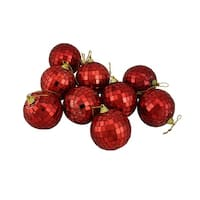 "9ct Red Hot Mirrored Glass Disco Ball Christmas Ornaments 2.5"" (60mm)"