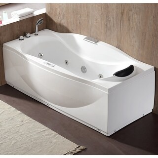 "Eago AM189ETL-L 31-9/10"" Soaking Bathtub for Free Standing Installations with Left Drain and MaxLoad - White"