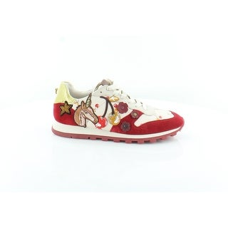Coach Uni Women's Fashion Sneakers Ivory/Red