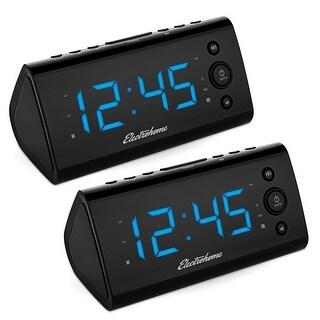 Electrohome Alarm Clock Radio w/ USB Charging for Smartphones & Tablets, Dual Alarm - 2 PACK